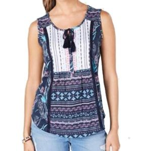 Style & Co Tank PP 2P Embroidered Casual Blue NEW